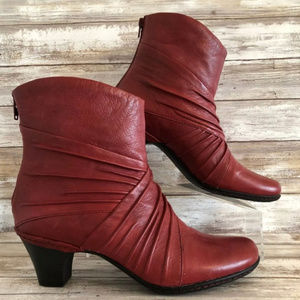 Cobb Hill By New Balance Red Leather Heeled Boots